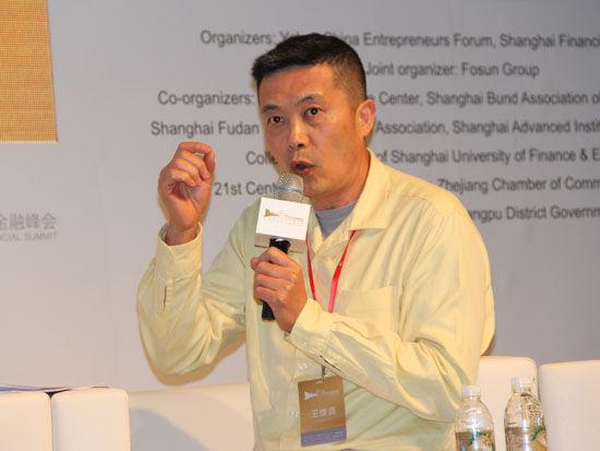 """""""外滩国际金融峰会""""于2013年6月2日在上海举行。上图为美通无线公司董事长王维嘉。(图片来源:新浪财经 王霄 摄)"""