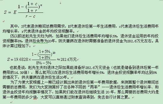 退休规划:三种方法测算养老费用(2)_理财方案