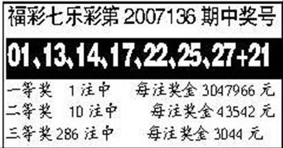 福彩七乐彩第2007136期中奖号_滚动新闻