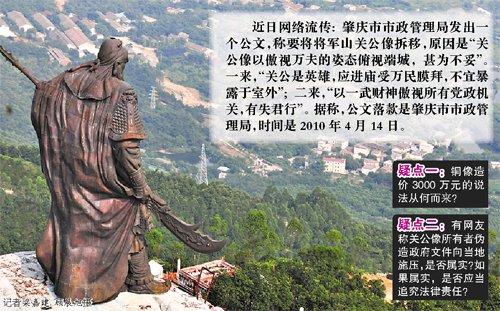 广东肇庆否认因风水拆除巨型关公像 称其系违建