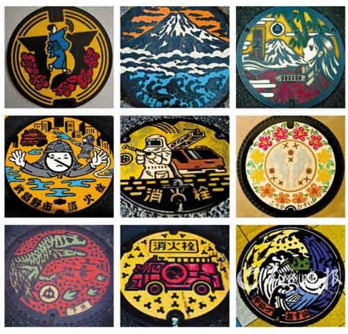 日本井盖文化创意独特 共有1540种不同图案(图)