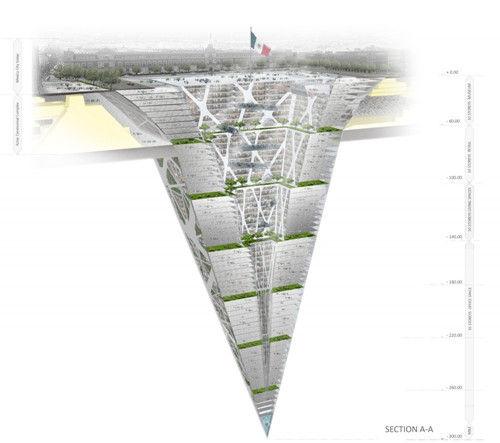 """墨西哥欲建地下""""倒金字塔""""300米深建65层(图)"""