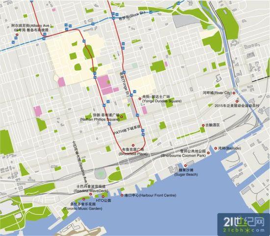 多伦多中心:Downtown步行地图(图)