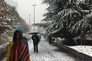 武汉市民冒雪出行