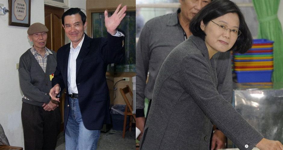 马英九、蔡英文参加选举投票