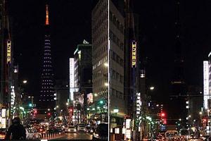 日本东京塔熄灯前后