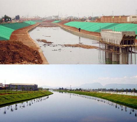 治理前后的入滇池河流大清河景观