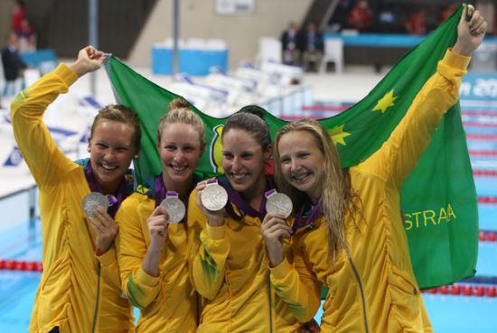 澳大利亚女子4x100米自由泳接力为澳大利亚队保留了一丝颜面