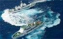 航拍日舰艇用水枪喷台渔船