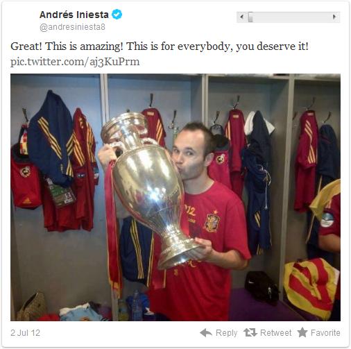 """西班牙球员伊涅斯塔7月1日发推说:""""非常棒,令人吃惊!这是给所有的人的,你们有资格获得这些!"""""""