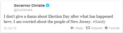 """新泽西州州长克里斯蒂10月30日发推特称:""""在发生飓风灾情后,我根本不关心选举日。我担心的是新泽西的人民。"""""""