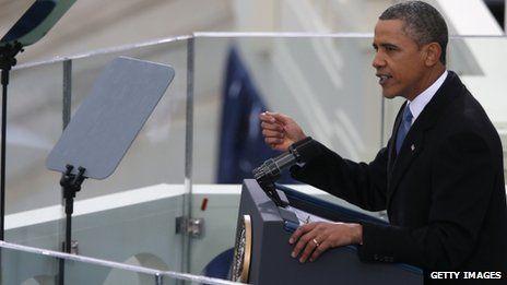 当地时间21日中午,奥巴马在国会山发表就职演说。
