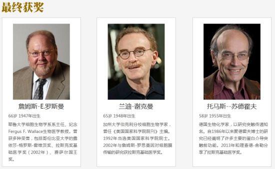 三名获奖者此前都曾获得拉斯克基础医学奖。
