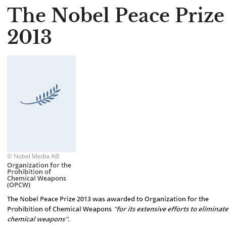 禁止化学武器组织获得诺贝尔和平奖。