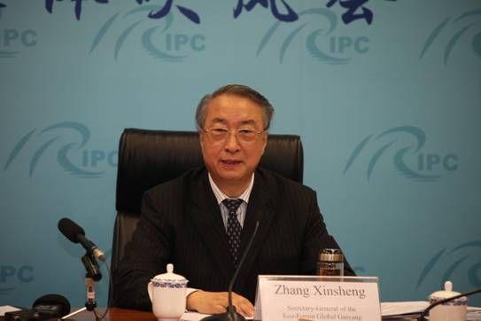 生态文明贵阳国际论秘书长章新胜介绍情况并回答记者提问。文媛 摄