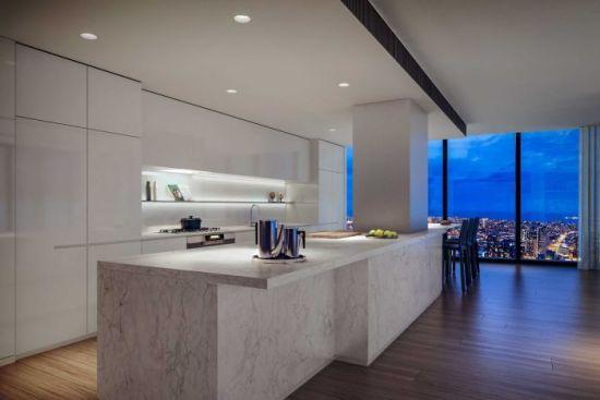 顶层公寓的厨房效果图