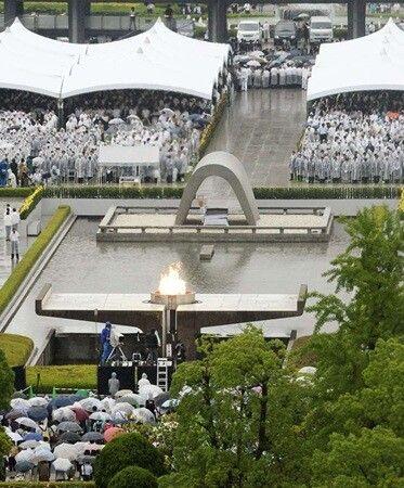 日本广岛原子弹爆炸69周年纪念仪式现场