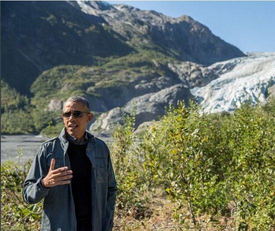 奥巴马在阿拉斯加。