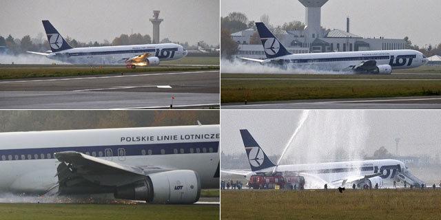 实拍波兰飞机腹部着地惊险迫降