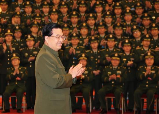 中央军委主席胡锦涛在北京会见武警部队党委一届六次全体会议人图片