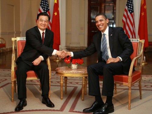 胡锦涛与奥巴马举行首次会晤(组图)