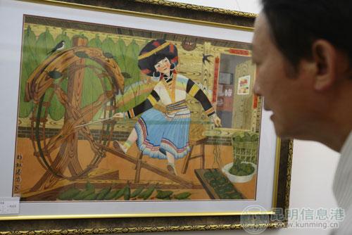 云南78位农民画家办作品展迎国庆