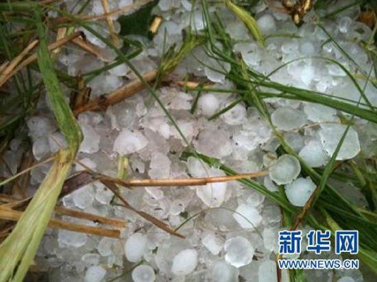 4月17日,广东省云浮市都杨镇遭遇冰雹。 新华社发(冼超龙 摄)
