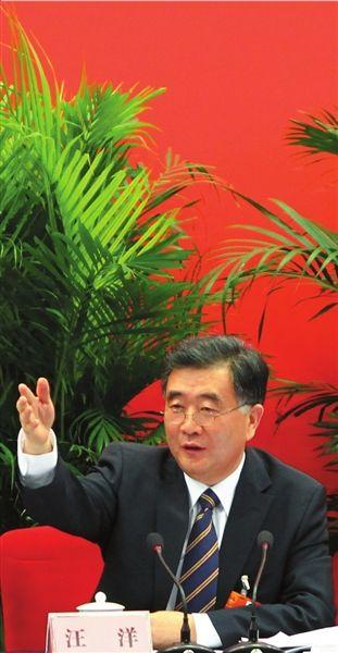广东团开放日,汪洋回答记者提问。本报记者王海欣摄