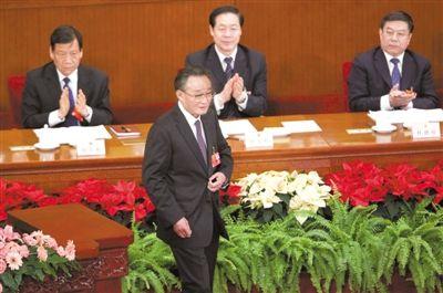 昨日下午,十一届全国人大五次会议举行全体会议,吴邦国作常委会工作报告。本报记者 吴江 摄