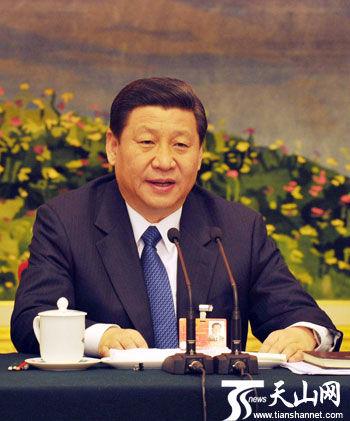 3月9日,中共中央政治局常委、国家副主席习近平参加新疆代表团审议并讲话。