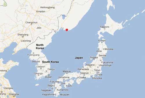 渔船被押送至俄罗斯纳霍德卡港(红点标注处)