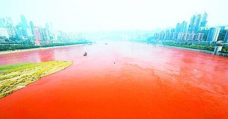 昨日,长江水呈现出比较明显的红色。 首席记者 钟志兵 摄