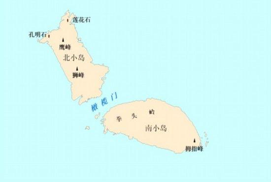 图4 北小岛、南小岛及其周边地理实体位置示意图