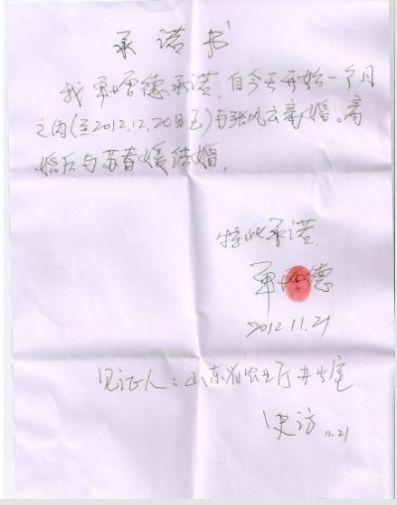 山东副农业厅长为情妇写离婚承诺书