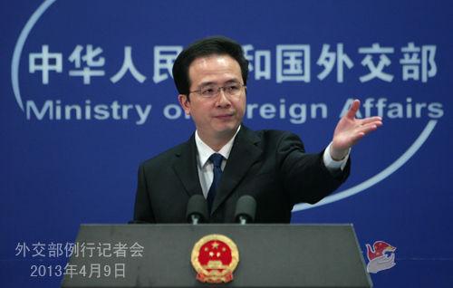 2013年4月9日,外交部发言人洪磊主持例行记者会。