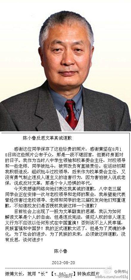 陈小鲁发表声明道歉