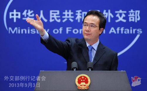 外交部发言人洪磊3日主持例行记者会