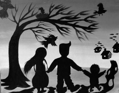 孩子画的一家三口出游的画。京华时报记者陶冉摄