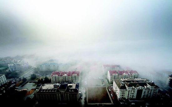 青岛现平流雾景观 城市建筑若隐若现