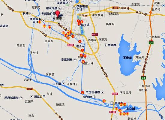 府河孝感市区段疑似污染源示意地图