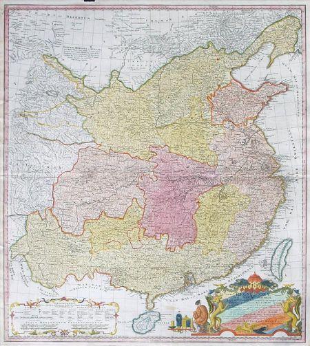 """此图为默克尔赠送习近平的""""地图礼物""""(资料图)"""