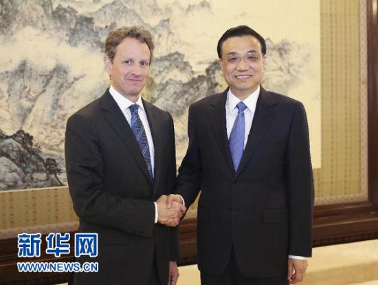 4月29日,国务院总理李克强在北京中南海紫光阁会见美国前财长盖特纳。 新华社记者 丁林 摄