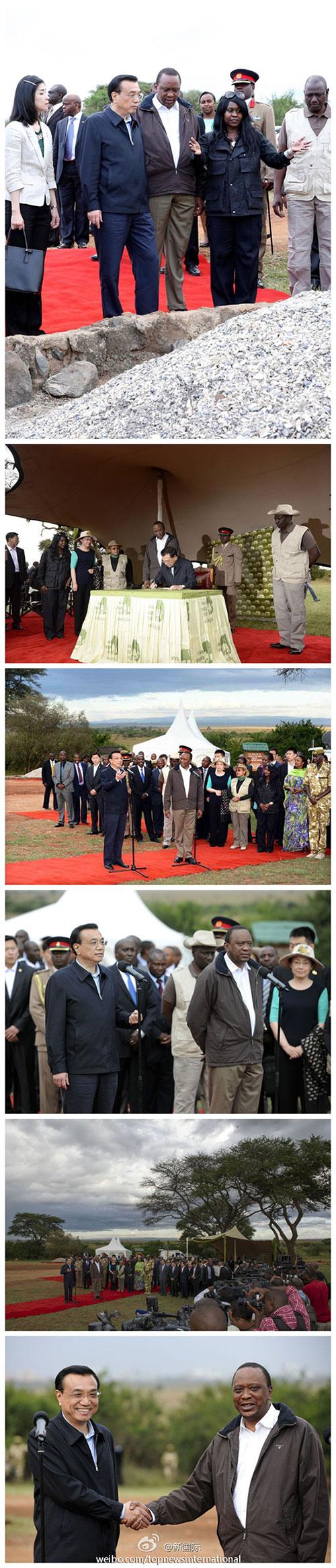 李克强10日在肯尼亚总统肯雅塔和副总统鲁托陪同下参观内罗毕国家公园焚烧象牙纪念地并讲话。