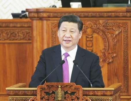 2014年8月22日,国家主席习近平在蒙古国国家大呼拉尔发表题为《守望互助,共创中蒙关系发展新时代》的重要演讲。
