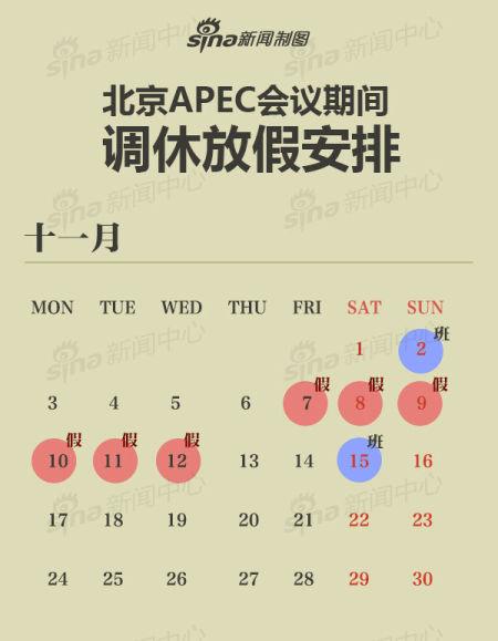 在北京各单位APEC会议期间6天放假调休