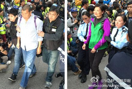 壹传媒集团主席黎智英(左)公民党主席余若薇(右)被警方带走
