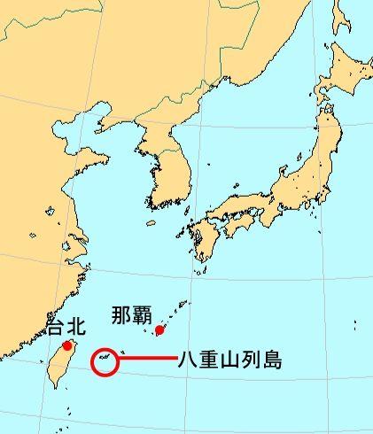 地图上的八重山列岛。