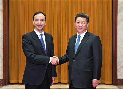 昨日,中共中央总书记习近平在北京人民大会堂会见中国国民党主席朱立伦。新华社记者 兰红光 摄