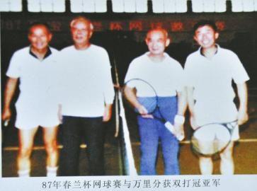 87年春兰杯网球赛与万里分获双打冠亚军