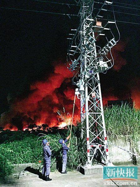 供电人员对火灾可能危及的三个台区进行紧急停电处理,全力协助救火。(通讯员供图)